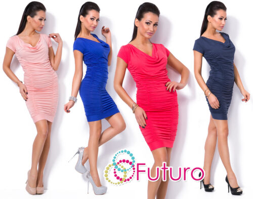Womens Mini Ruffle Dress Cowl Neck Short Sleeve Wrinkle Bodycon Sizes 8-14 8201