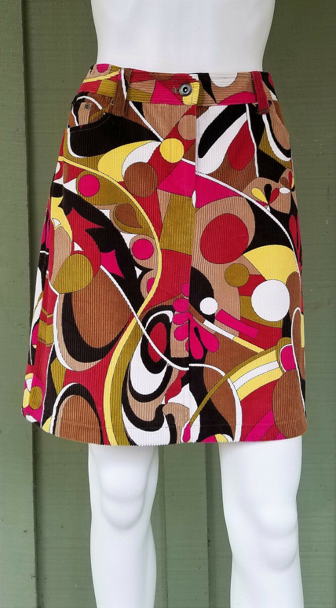 NWT ETCETERA colorful Commotion Cotton Corduroy Skirt 8
