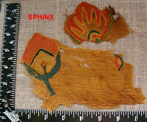 488COP) Pair of very colorful Coptic textile fragments probably from same media.