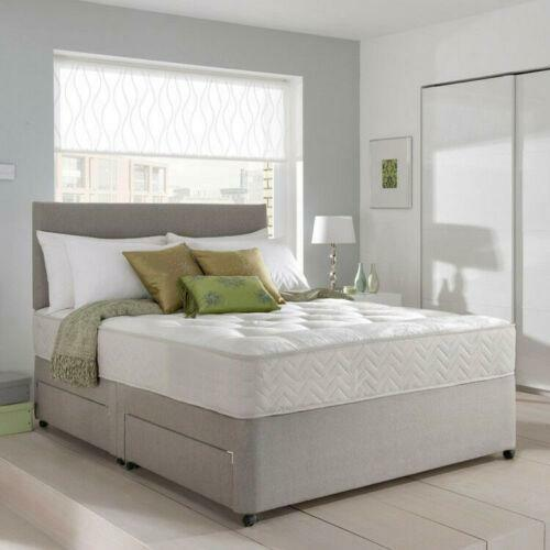 Opulent Memory Foam Suede Divan Bed Set With Mattress and Headboard
