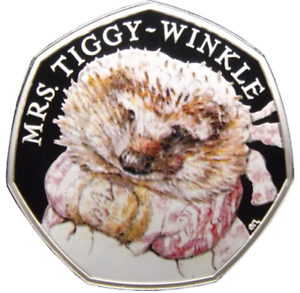 COLOURED-MRS-TIGGY-WINKLE-PETER-RABBIT-039-s-FRIEND-RARE-50p-UNCIRCULATED-COIN-2016