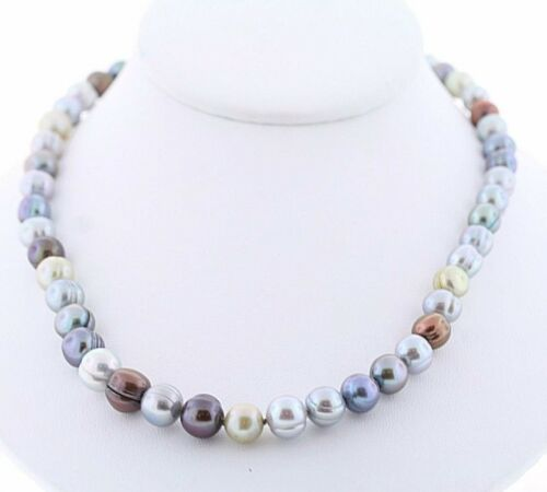 """HONORA Genuine Cultured Frshwtr Dark Multicolor Ringed 8-10mm Pearl 18/"""" Necklace"""