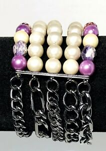 Multiple-Strand-Pearl-Purple-Bead-And-Charcoal-Chain-Bracelet