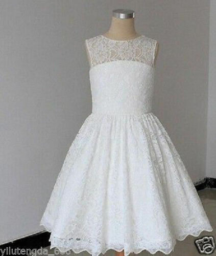 NEW Lace Tulle Flower Girl Dress Wedding Easter Junior Bridesmaid Baptism Baby