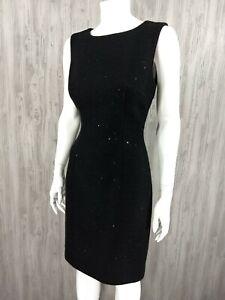 Trina-Turk-Black-Tweed-Sequin-Dress-Women-Size-6-Career-LBD-Sheath-Cocktail