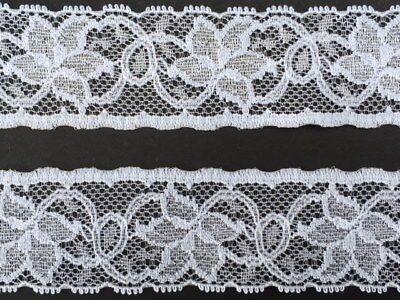 "laverslace Quality White Floral Cotton Stretch Lace Trim 2cm//0.75/"" Guy Birkin"