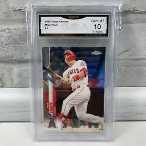 2020 Topps Chrome Mike Trout #1 Base Los Angeles Angels GMA Gem Mint 10