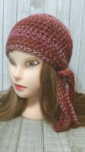 Raspberry Red Cloche Scarf Cancer Chemo Hair Loss Hat Crochet Womans