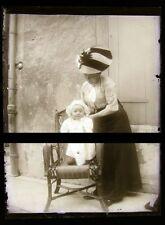 PLAQUE VERRE PHOTO NEGATIF circa.1914 MERE ET FILS mother & son  (B26)