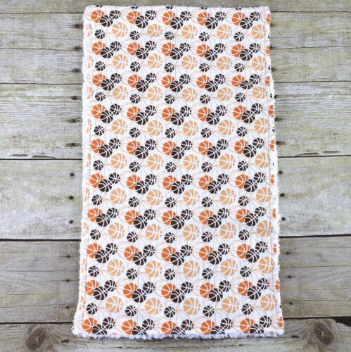 Chenille /& flanelle Burp Cloth ville basket marron orange blanc nouveau bébé garçon
