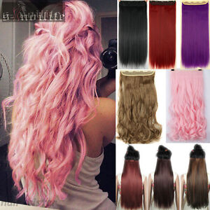 Colorful-Synthetic-Straight-Curl-Wave-Half-Full-Head-Clip-in-Hair-Extensions-HG0