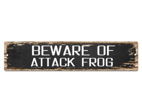 SP0436 Beware of ATTACK FROG Funny Sign Bar Store Shop Cafe Home Chic Decor