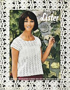 top para mujer verano señoras fácil Vintage Lister N1577 dk 1970s patrón de ganchillo
