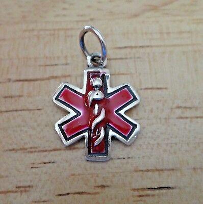 Sterling Silver 15x20mm Red Enamel Medical ID Alert Charm