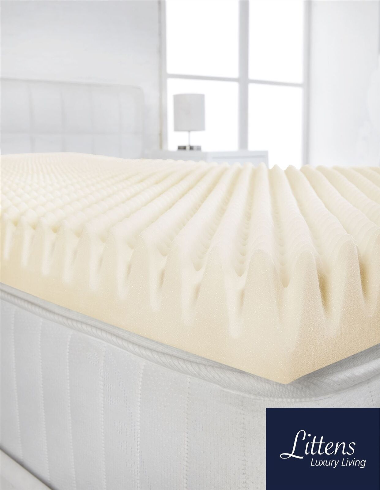 4  Extra Deep Superking Bed Memory Foam Mattress Topper Profile, Egg Shell Crate