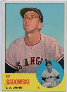 1963-Topps-527-Ed-Sadowski-EX-EXMT-Miscut-Los-Angeles-Angels-FREE-SHIPPING