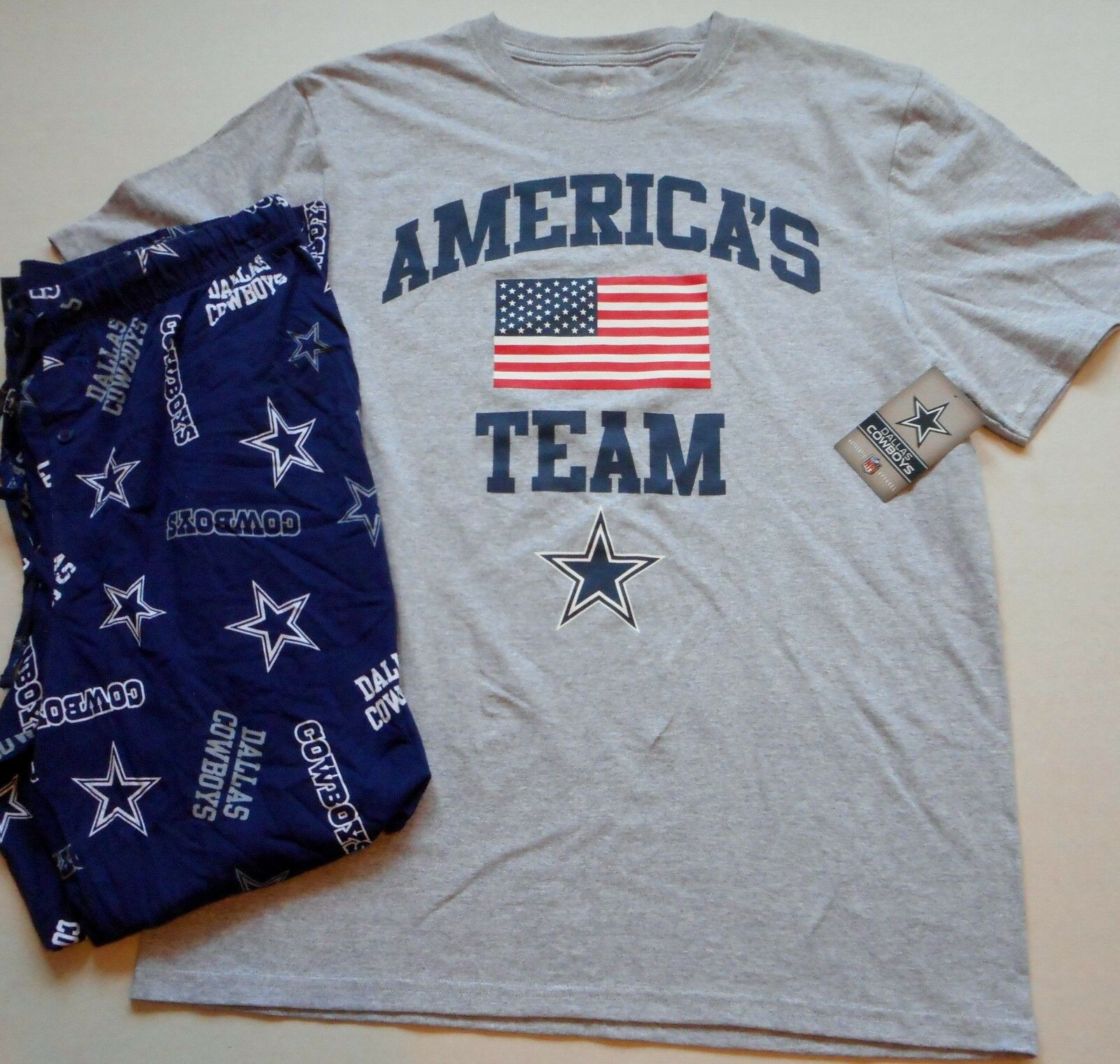 DALLAS COWBOYS MENS SLEEP LOUNGE PAJAMA PANT T SHIRT SET M L XL 2X AMERICAS TEAM