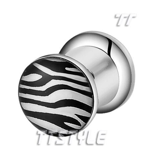 TTstyle Clear Epoxy Zebra Surgical Steel Fake Ear Plug Earrings