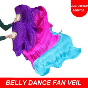 Initiative Haute Qualité 100% Soie Scène Performance Props 1 Paire Belly Dance Fan Veils-afficher Le Titre D'origine