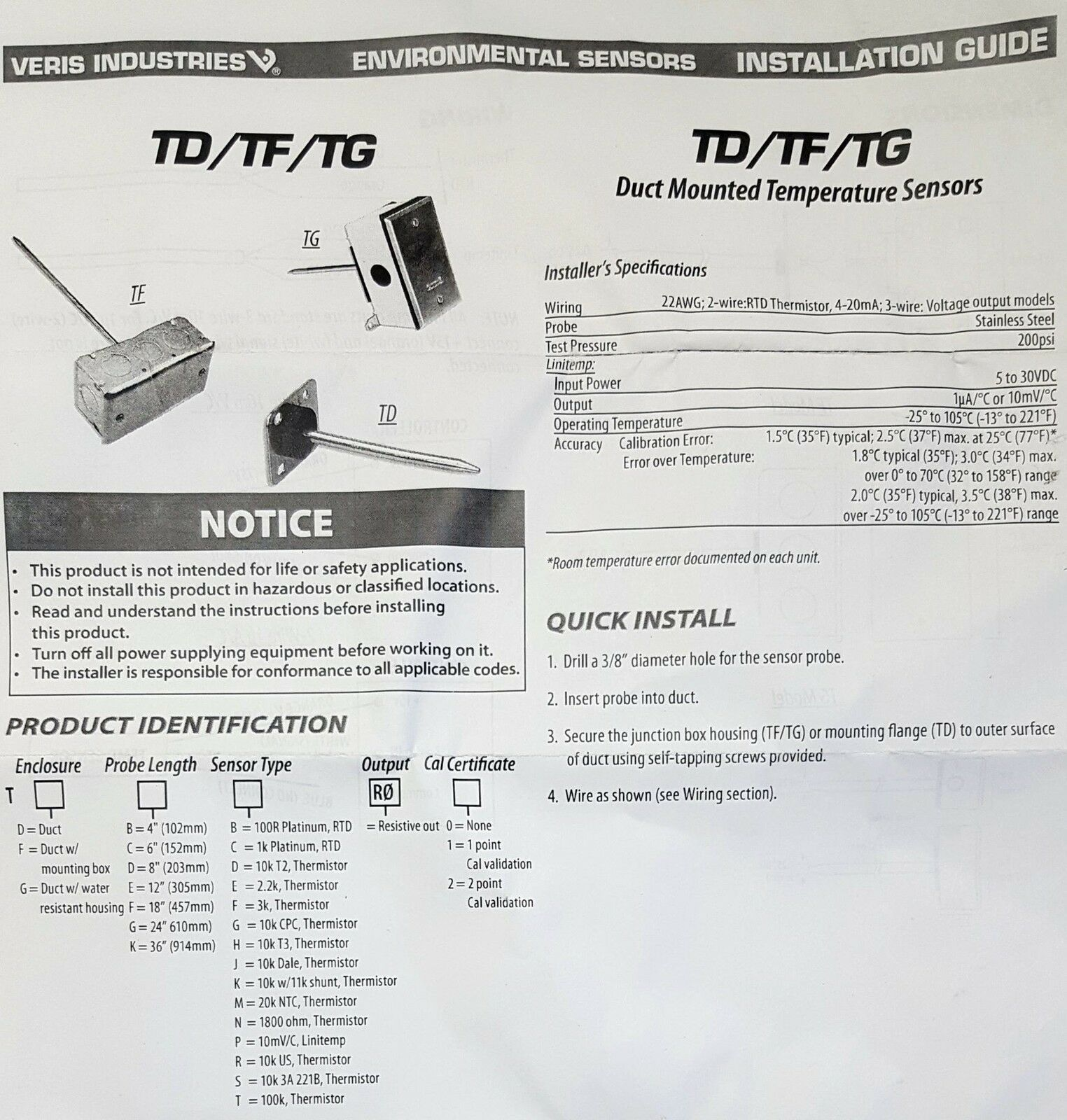 RTD Thermistor 22awg 2-wire Waterproof Unit Duct Mount Temperature ...