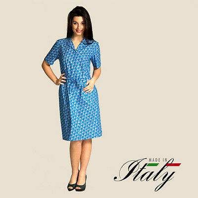 Aertre 106 Vestaglia Donna Mezza Manica Con Bottoni Puro Cotone Made In Italy