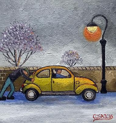 "The Reluctant Beetle : Original 12"" X 12""  Northern Art Oil Painting by COSA"
