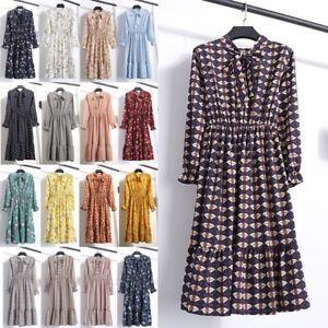 Women-039-s-Dress-Boho-Floral-Long-Sleeve-Vintage-Ladies-Casual-Party-Knee-Skirt-UK