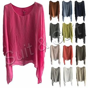 New-Womens-Ladies-Italian-Lagenlook-Plain-Viscose-Batwing-Loose-Baggy-Tunic-Top