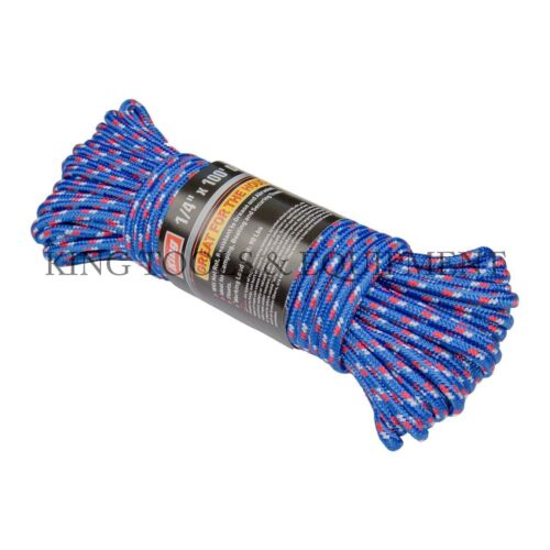 "KING 1//4/"" inch x 100/' feet Diamond Braided POLY ROPE Variety color Polypropylene"