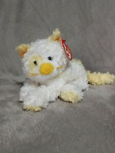 Ty Beanie Baby Saffron the Yellow & White Kitty Cat Stuffed Plush With Tags 2005