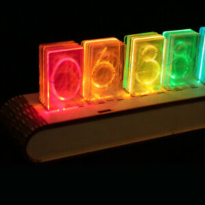 Details about Acrylic Led Nixie Clock DIY Kit - Full Color with Wood Case