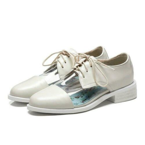 Womens Clear Casual Flat Shoes Lace Up Low Heel Polka Dot Sweet Stylish Plus Sz