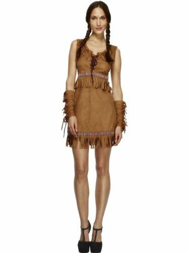 Donna Squaw Indiano Costume Costume da gallina Vestito da adulto Wild West Nativo