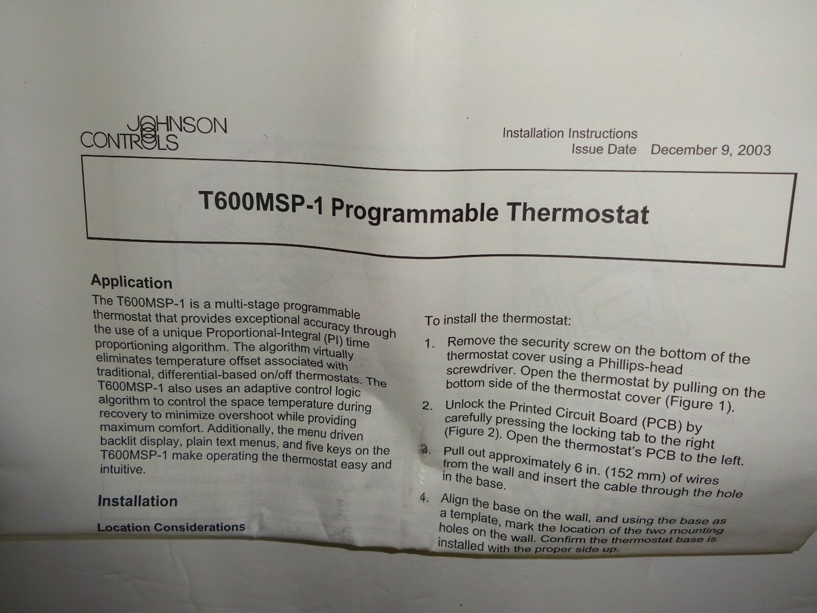 Johnson Controls T600msp 1 Programmable Thermostat New 272657507126 Wiring Diagram