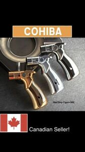 FREE COHIBA stand With purchase COHIBA Windproof 4 Jet Flame Torch Lighter Cigar