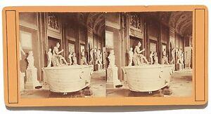 Museo Del Louvre Sala Dei Sculture Greche Stereo Vintage Albumina Ca 1875