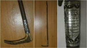 Antique-Presentation-Hunt-Whip-039-To-T-Dapilan-Esq-From-Gt-Barr-Cricket-Club-1889-039