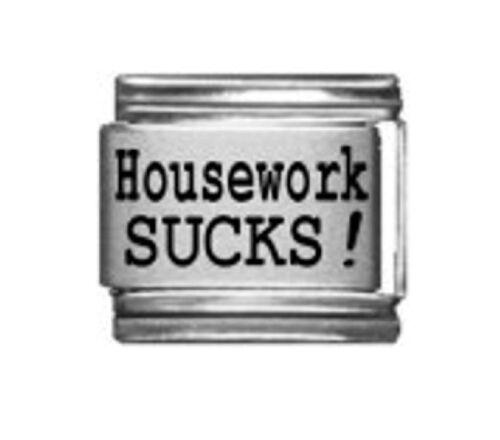 9mm Classic Size Italian Charm  L99  Hate Housework Sucks