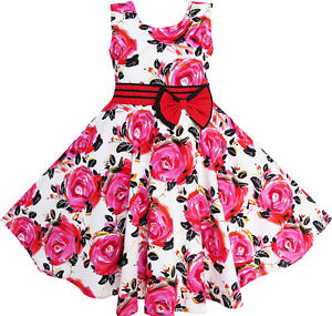 Sunny-Fashion-Girls-Dress-Red-Rose-Party-Summer-Sundress-Cotton-Size-6-12