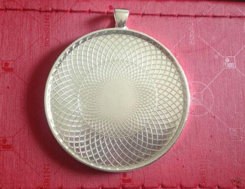 "10PCS Bright Silver Plate 2/"" Round Pendentif plateaux Cabochon Settings #23065"