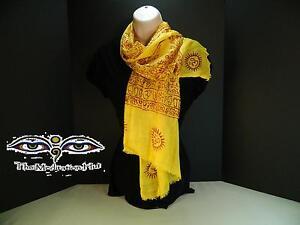Yoga-OM-Gold-Color-Meditation-Scarf-Shawl-Handloomed-cotton-screen-printed-India