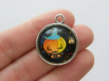 4 Pumpkin Halloween charms antique silver tone HC1