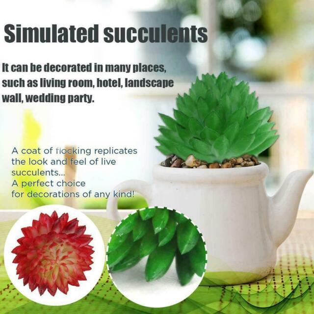 Artificial Succulent Plastic Plants Cactus Fake Flower DIY New Garden Home N3U9