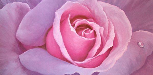 Sara Cortese   la Vie en Rose Fleurs Tableau Prêt 50x100