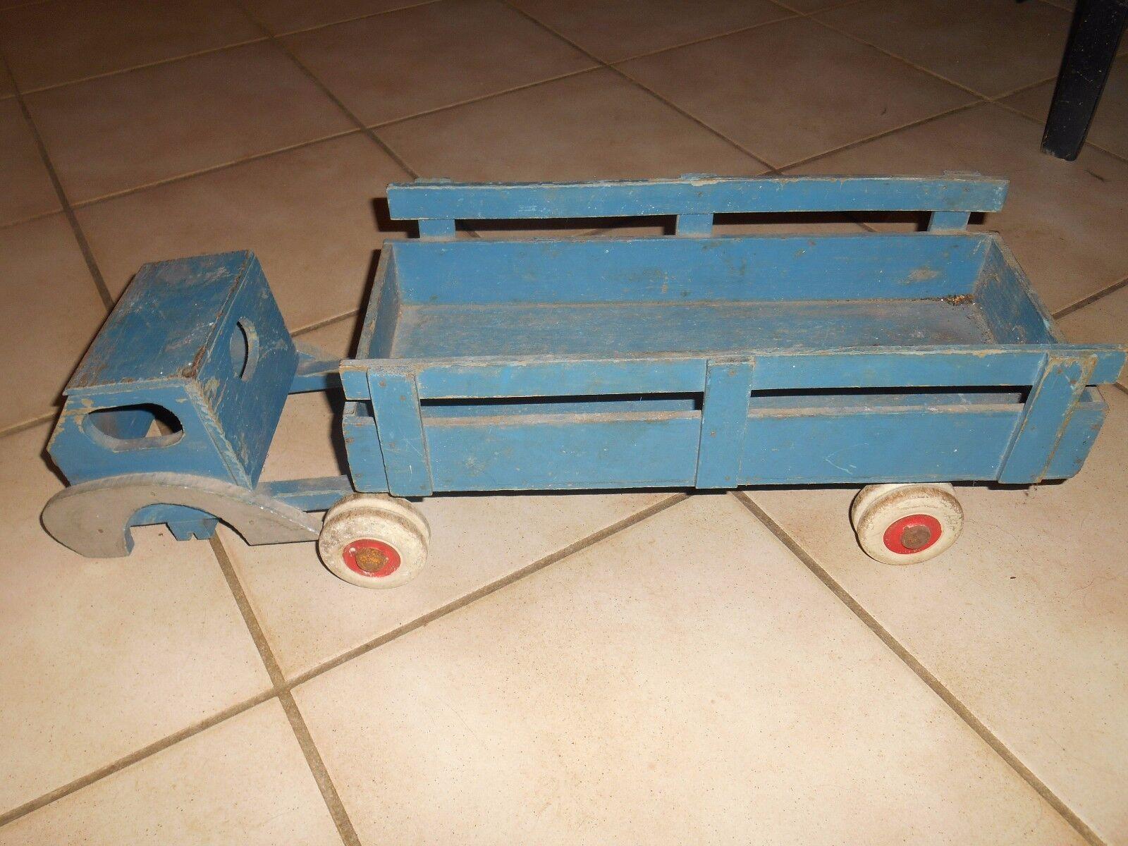 Ancien Camion Semi Remorque Bois Bleu à rénover compléter Genre Dejou  benne