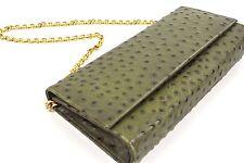 Holt Renfrew Ostrich Leather Clutch Purse Bag w/Gold Chain Green Khaki* 1019
