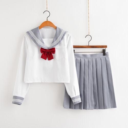 Women School Girl Sailor Uniform Set JK à manches longues chemisier jupe Cosplay Costume
