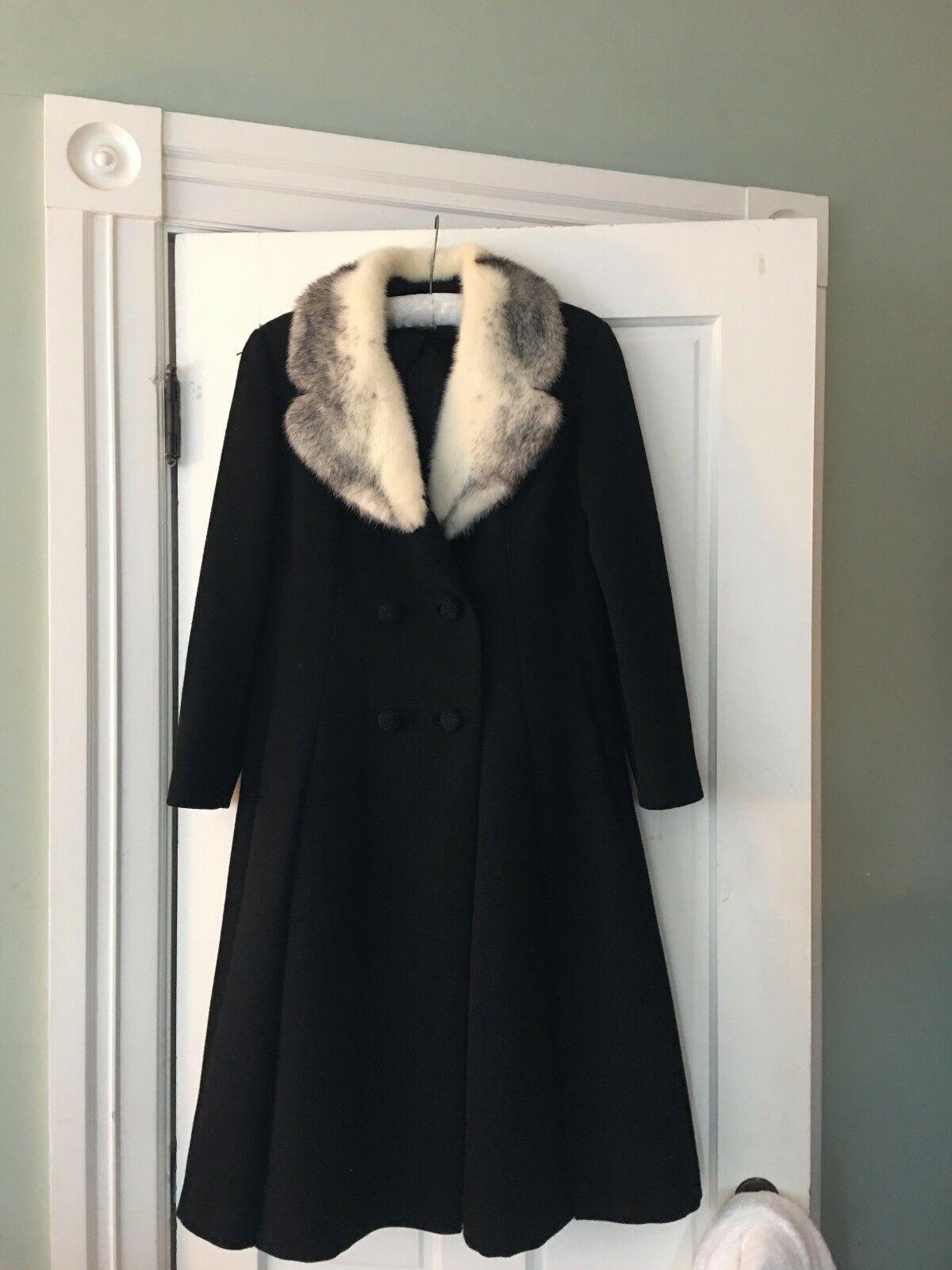 Vintage  Negro De Lana De Abrigo Mink Cuello blancoo Talla 10 1216C  selección larga
