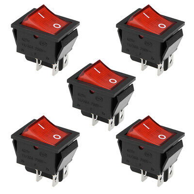 Boat Rocker Switch Red LED Waterproof Toggle Switch ON//OFF AC//DC 24V//15A 2pcs