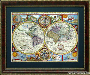 Old world map cartography by john speed framed a quality ebay image is loading old world map cartography by john speed framed gumiabroncs Gallery